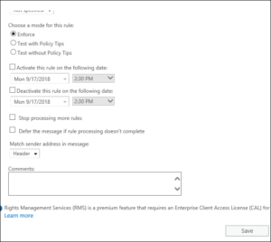 Exchange Server 2019 - Mail Flow Rule