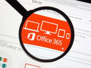 Microsoft Office 365 on the web under magnifying glass.